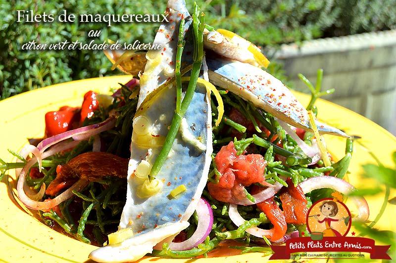 Filets de maquereaux au citron vert et salade de salicorne