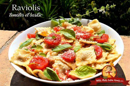 Raviolis aux tomates et basilic
