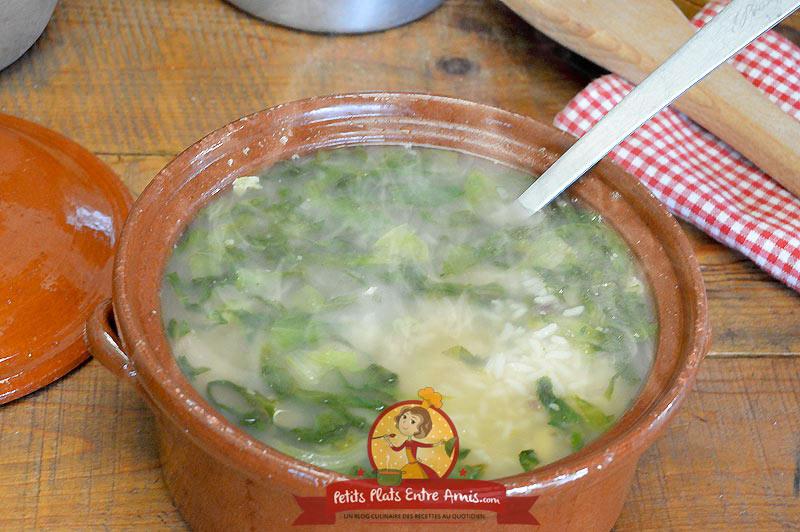 Recette de la soupe de riz et salade