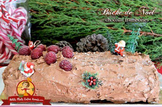 Bûche de Noël chocolat framboises