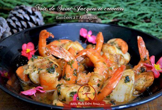 Noix de Saint-Jacques et crevettes flambées à l'Armagnac