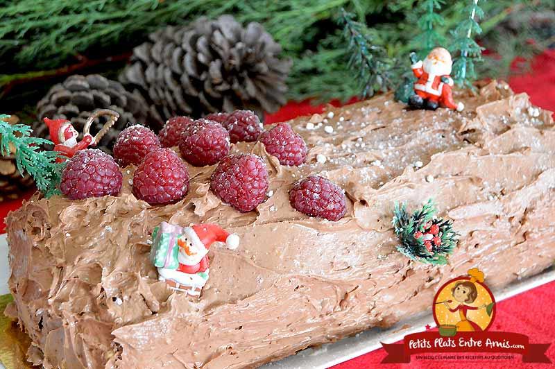 Recette bûche de Noël chocolat framboises