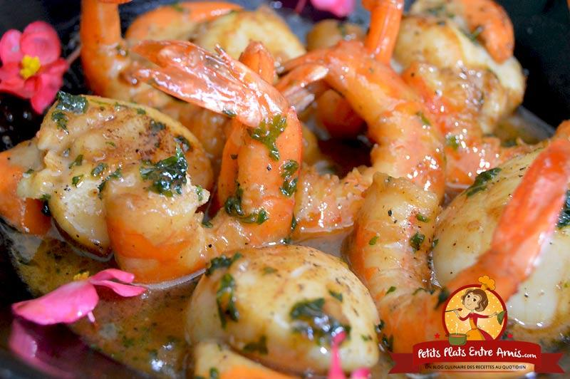 Recette de noix de Saint-Jacques et crevettes flambées à l'Armagnac
