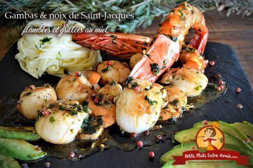 Gambas et noix de Saint-Jacques flambées grillées au miel