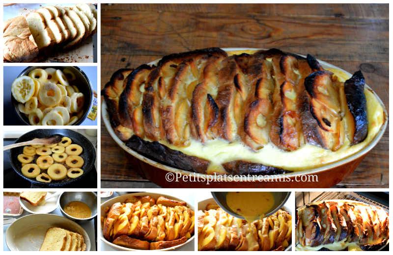 Cuisson gratin de pain perdu aux pommes caramélisées