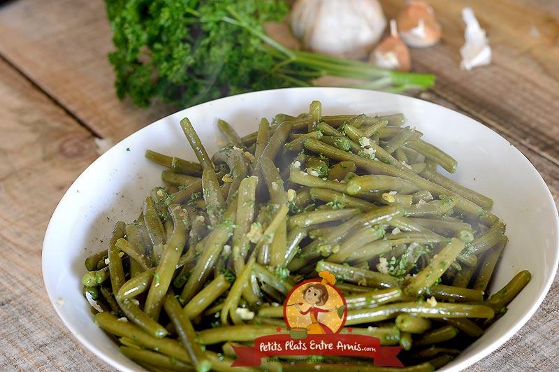 Haricots verts à l'ail et au persil la recette