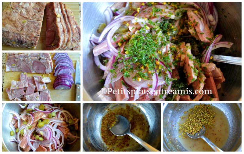 Préparation salade de fromage de tête aux pistaches