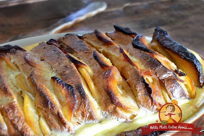 Recette de gratin de pain perdu aux pommes caramélisées