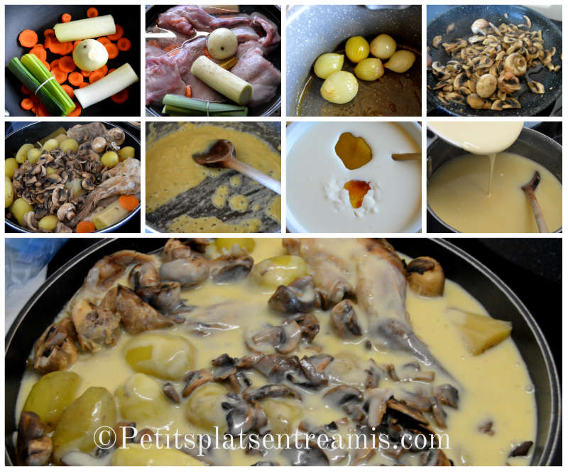 Cuisson blanquette de lapin au miel et à la moutarde