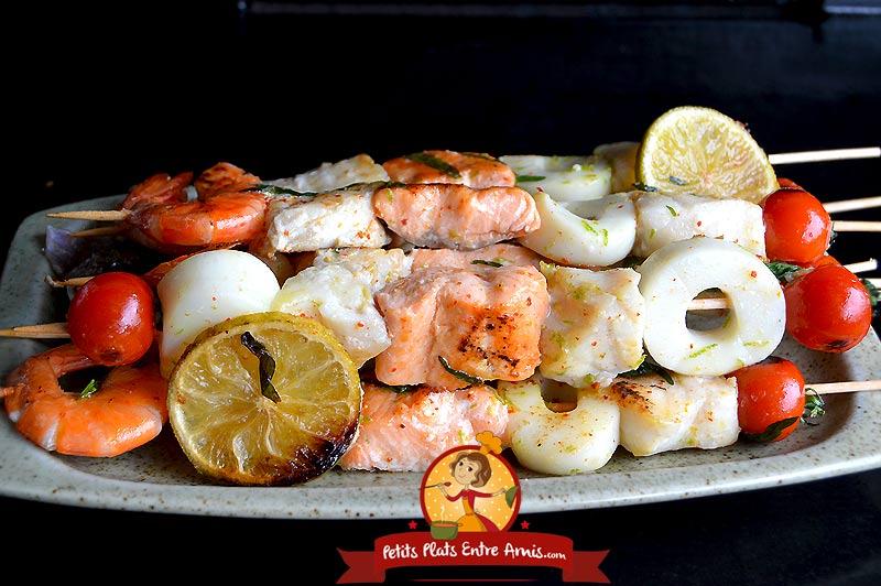 Brochette de poissons à la plancha la recette