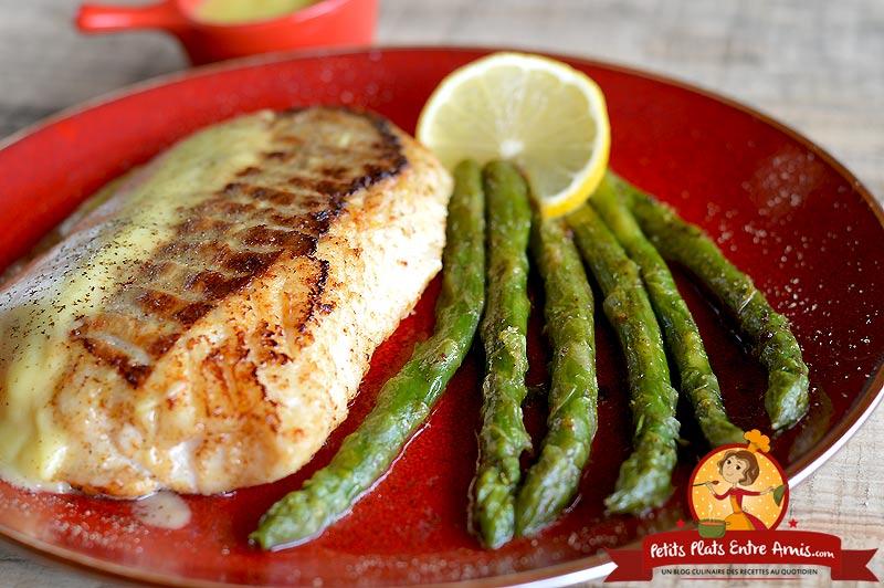 Recette filet de poisson aux asperges sauce hollandaise