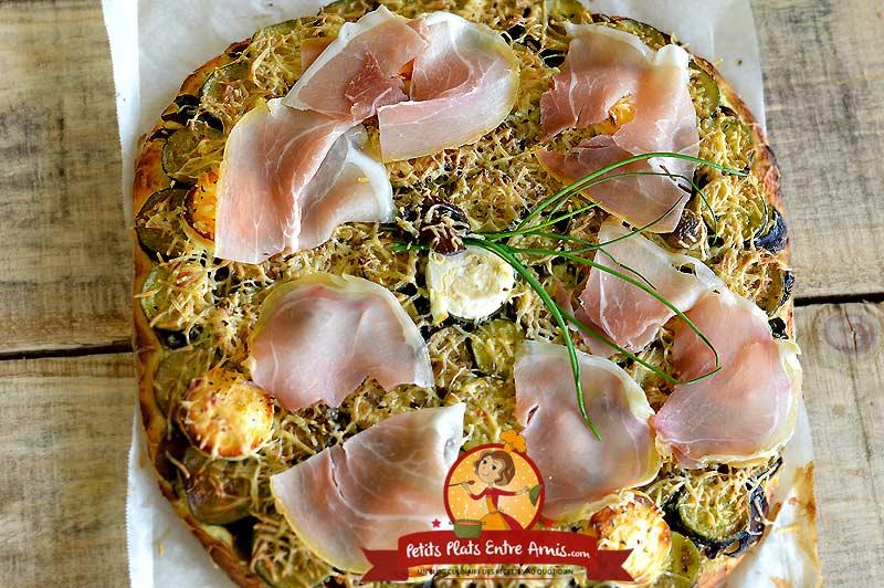 Recette pizza aux courgettes et chèvre