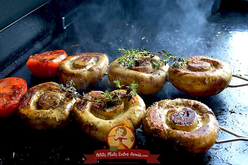 Brochettes de champignons la recette