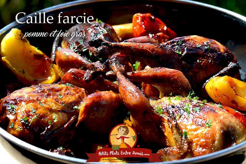 Caille farcie pomme et foie gras