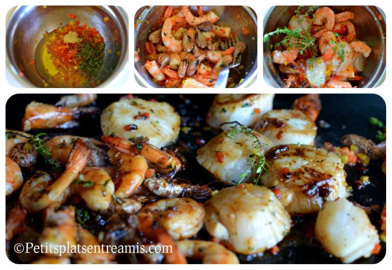 Cuisson crevettes et noix de Saint-Jacques à la plancha