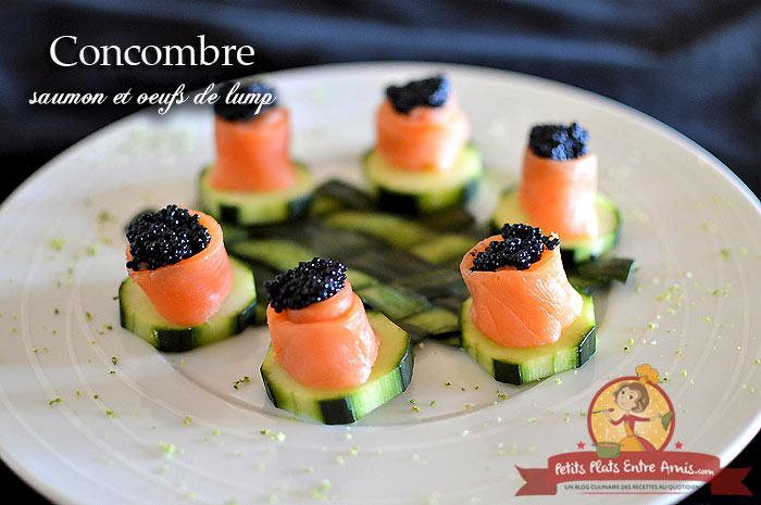 Concombre au saumon et œufs de lump
