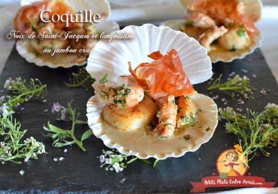 Coquille de noix de Saint-Jacques et langoustine au jambon cru