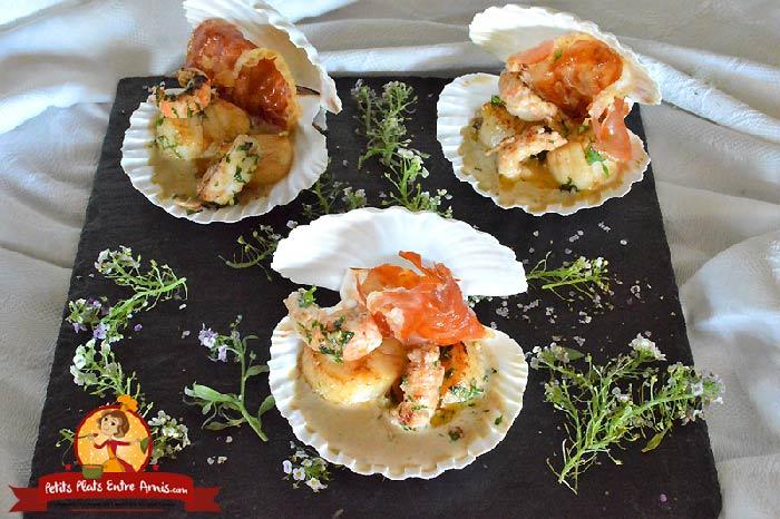 Coquille de noix de Saint-Jacques et langoustine au jambon cru la recette
