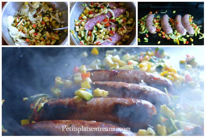 Cuisson saucisses de Toulouse grillées et petits légumes
