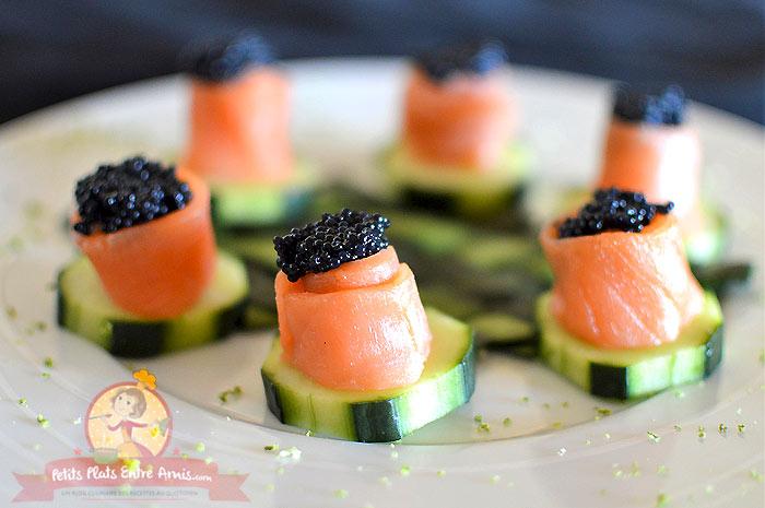 Recette de concombre au saumon et œufs de lump
