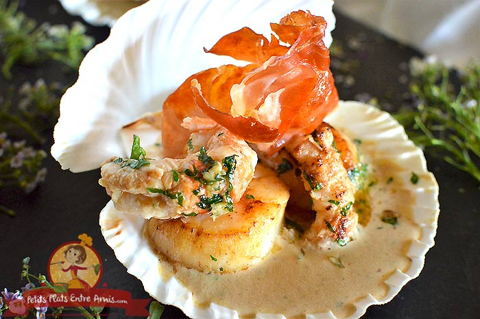 Recette de coquille de noix de Saint-Jacques et langoustine au jambon cru