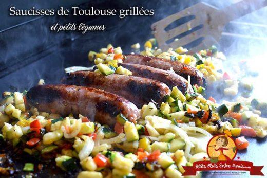 Saucisses de Toulouse grillées et petits légumes