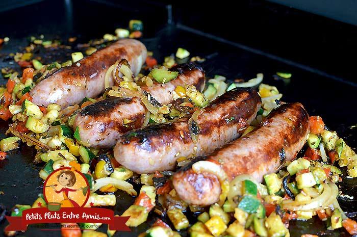 Saucisses de Toulouse grillées et petits légumes la recette