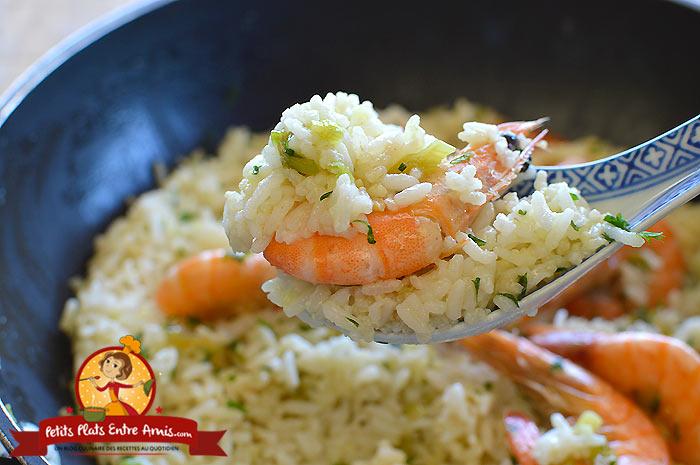 Cuisson riz frit aux crevettes