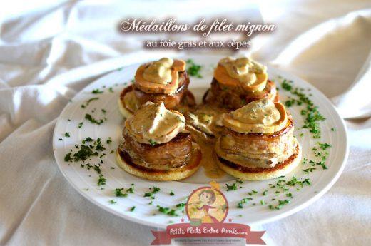Médaillons de filet mignon au foie gras et aux cèpes