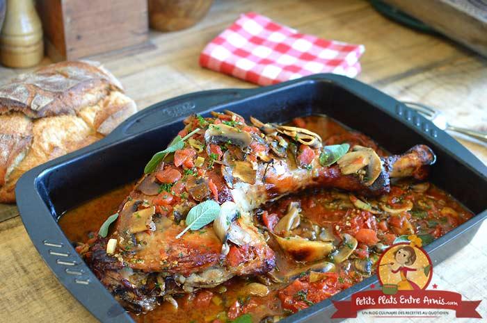 Cuisse de dinde aux tomates et champignons la recette