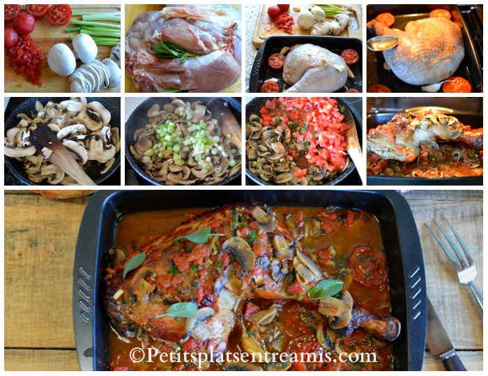 Cuisson cuisse de dinde aux tomates et champignons