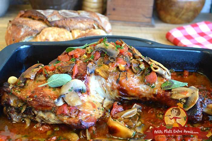 Recette cuisse de dinde aux tomates et champignons