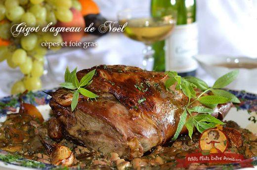 Gigot d'agneau de Noël aux cèpes et foie gras