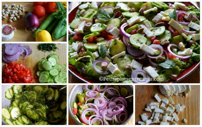 Préparation salade de concombres libanais
