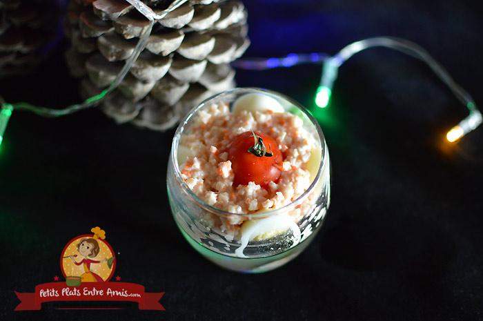 Ingrédients verrine de surimi et oeuf de caille sauce aurore