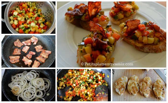 Préparation toast aux légumes et lard