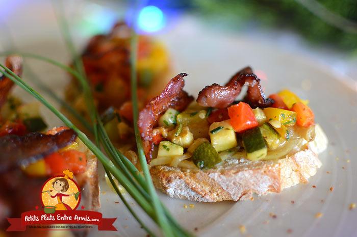 Recette toast aux légumes et lard