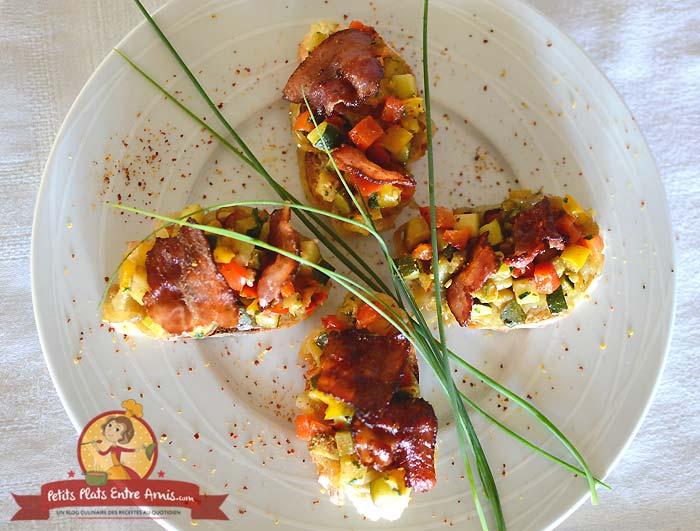 Toast aux légumes et lard la recette