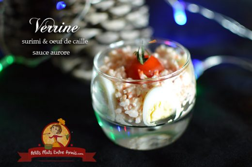 Verrine de surimi et oeuf de caille sauce aurore