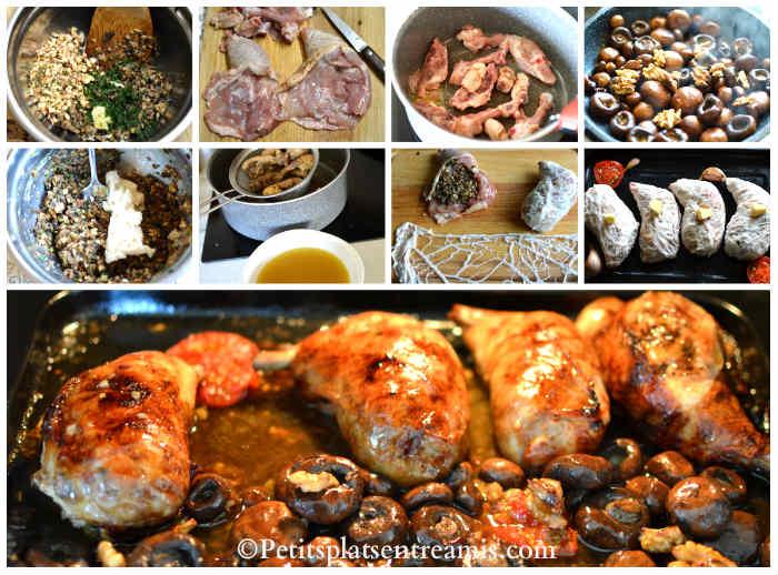 Cuisson cuisse de poulet farcie aux champignons et noix