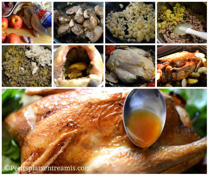 Cuisson poulet de Bresse farci aux foies de volaille et pommes
