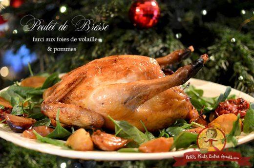 Poulet de Bresse farci aux foies de volaille et pommes