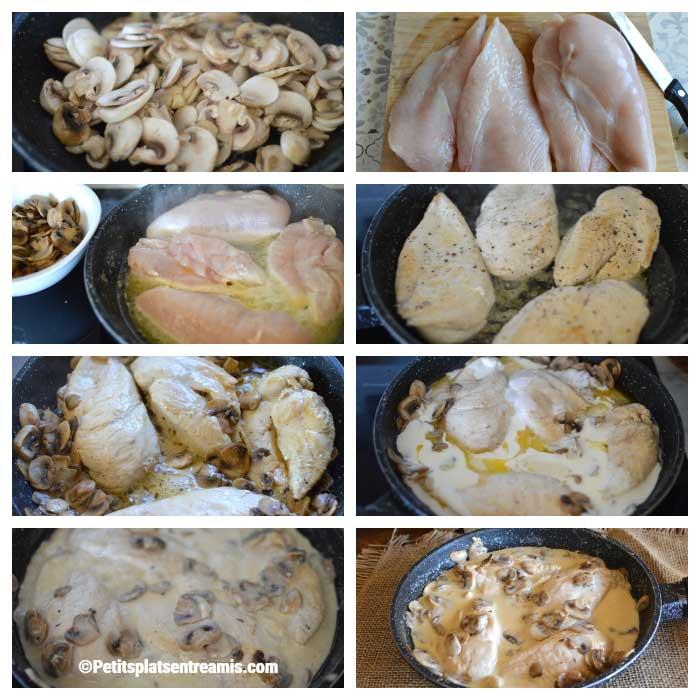 Cuisson escalope de poulet à la crème