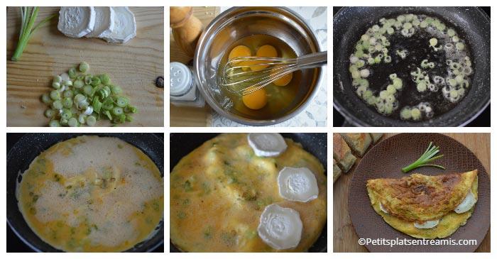 Cuisson omelette chèvre et cébettes