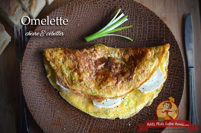 Omelette chèvre et cébettes
