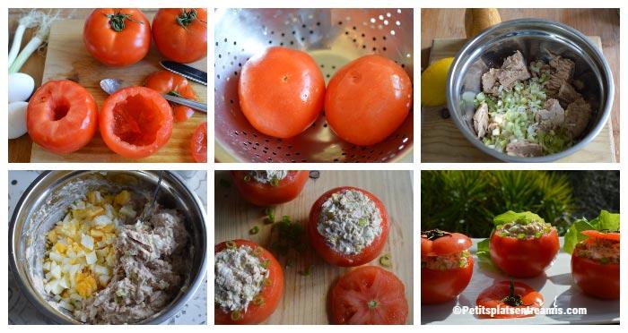 Préparation tomates farcies au thon et oeuf