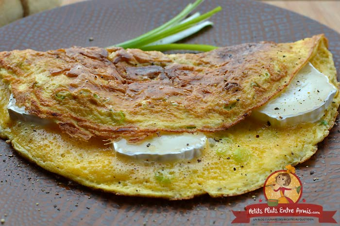 Recette omelette chèvre et cébettes