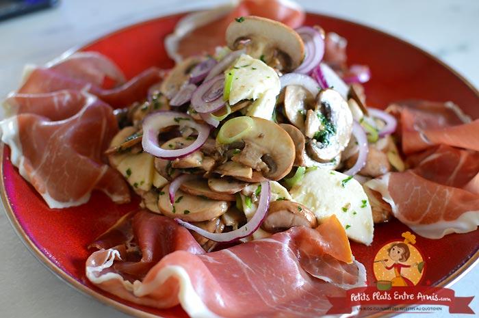 Recette salade de champignons jambon et mozzarella