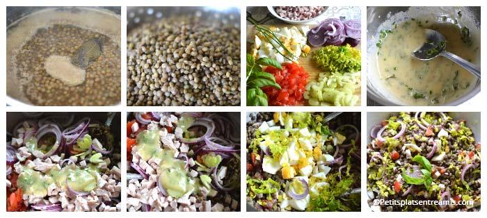 Préparation salade de lentilles