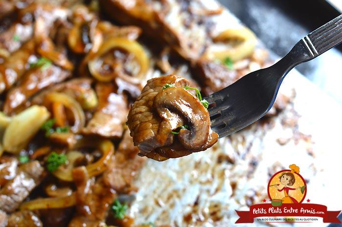 Cuisson émincé de boeuf sauce yakitori